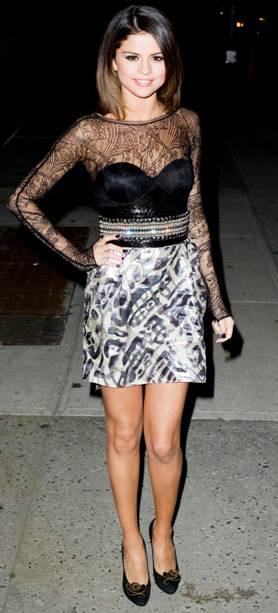 Selena Gomez pucci black sheer top