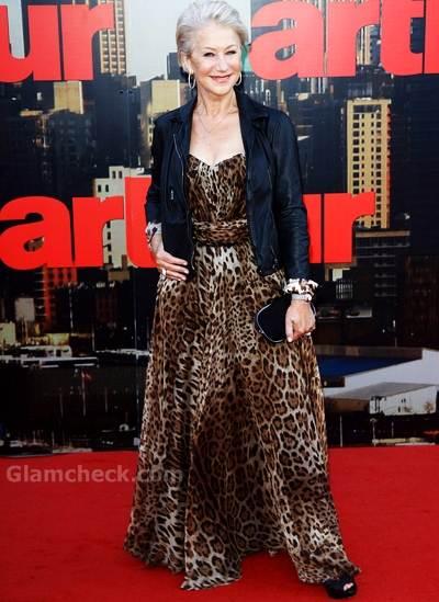 Helen Mirren animal print at Arthur London Premiere