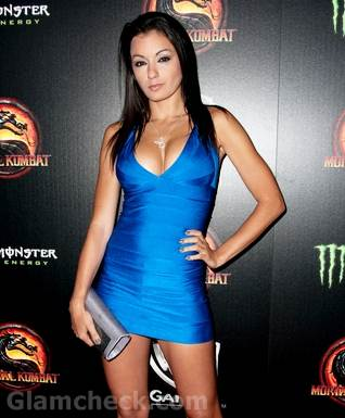 Jo Garcia in blue bondage dress