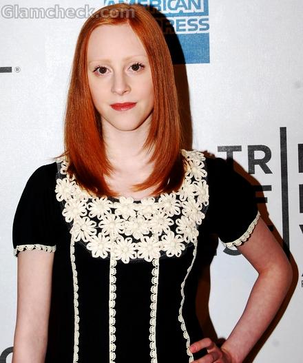 Samantha-Weinstein-black-dress-white-lace-motif