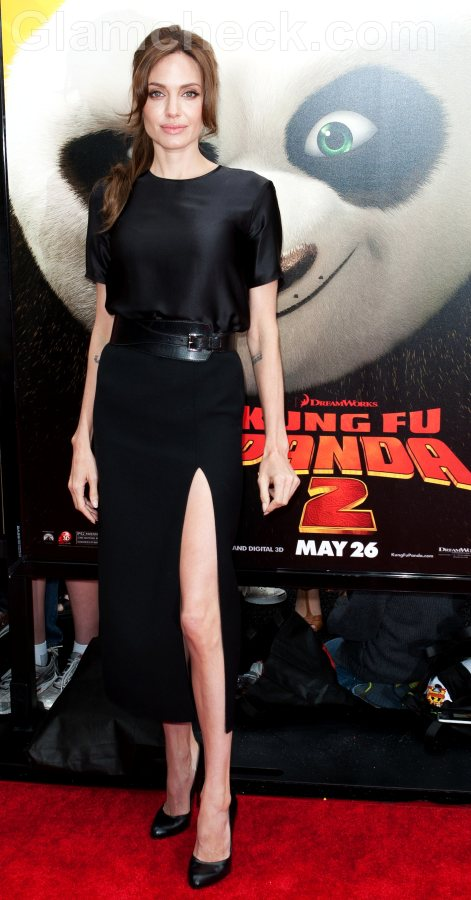 Angelina Jolie black gown thigh-high-split