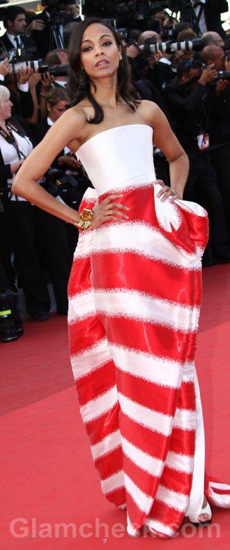 Worst dressed celebrities cannes 2011 zoe saldana