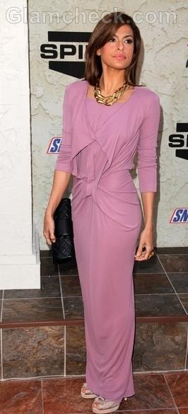 Eva-Mendes-spike-lilic-dress