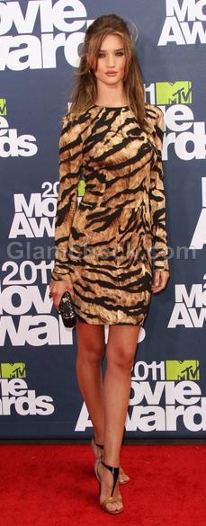 Rosie-Huntington-tiger-print-dress-2011-MTV-Movie