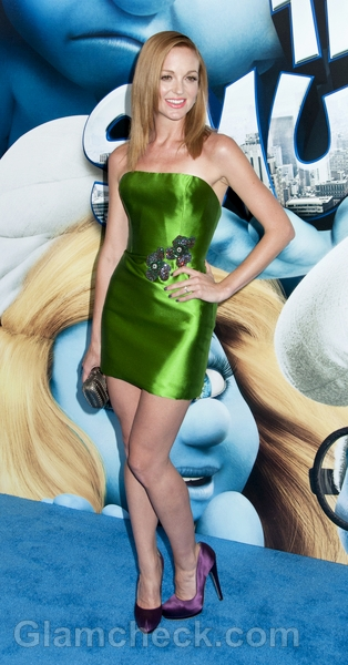 Jeyma-Mays-green-dress-The-Smurfs-premiere