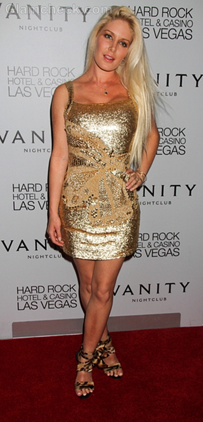 Heidi Montag Captivating in Gold Dress at Vanity Nightclub