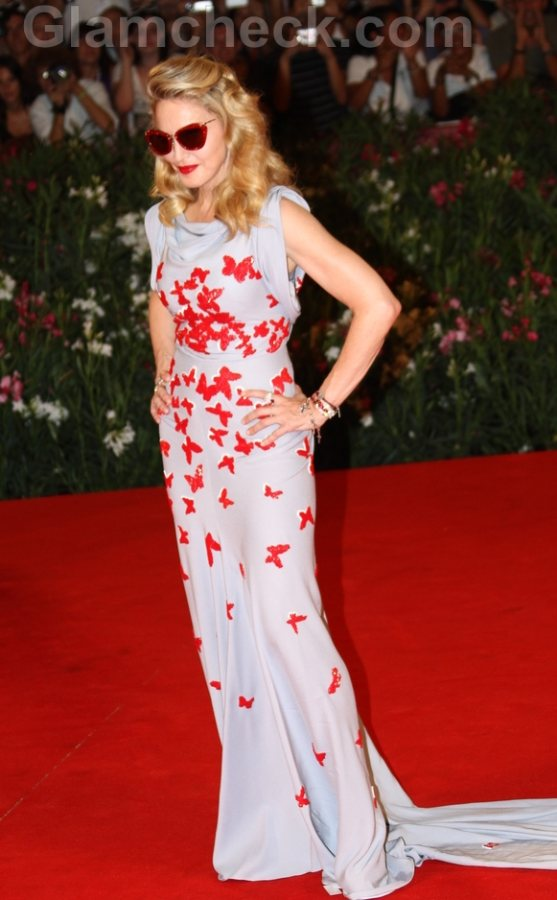 Madonna in red butterfly dress at WE Premier