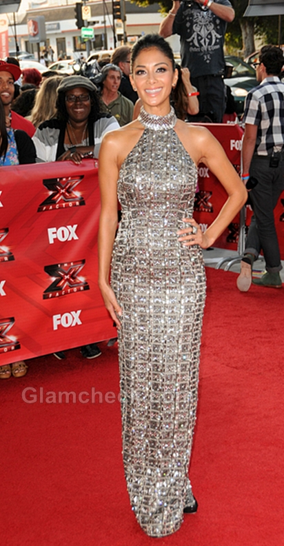 Nicole-Scherzinger-Metallic-Gown-The-X-Factor-premiere