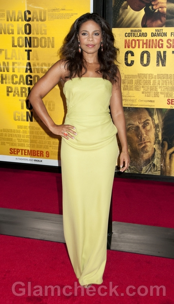 Sanaa-Lathan-strapless-Yellow-Gown
