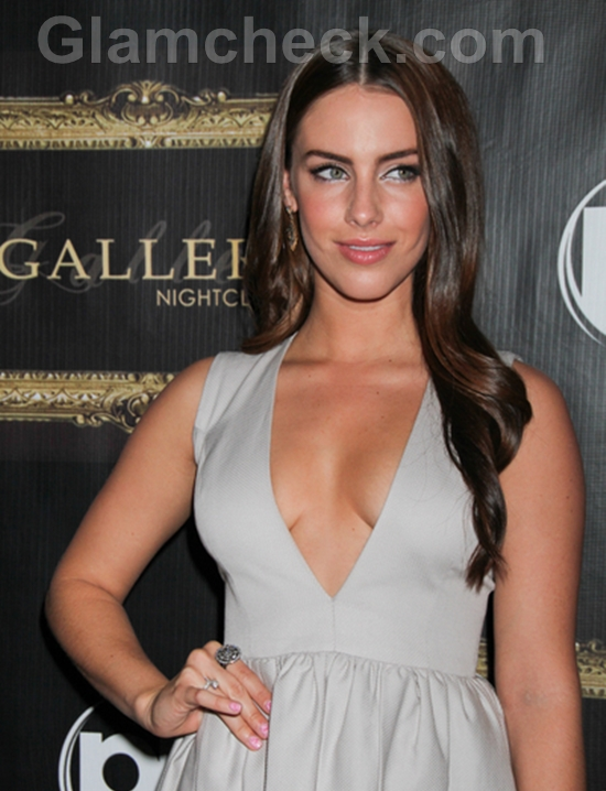 Lowndes-Plays-Hostess-at-Gallery-Nightclub-in-Gray-Dress