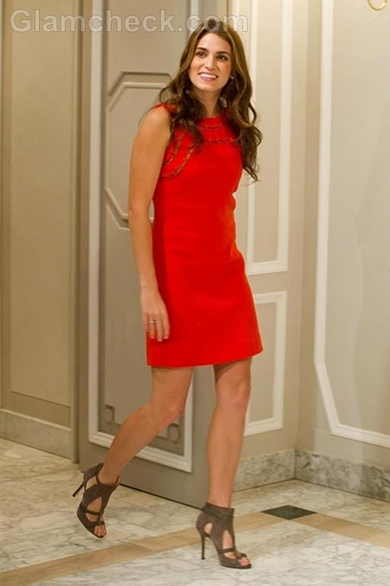 Nikki-Reed-In-Orange-Dress-Madrid-Photocall-Final-Twilight-Installment
