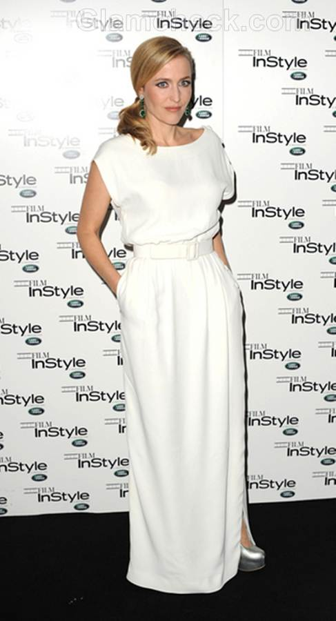 Gillian Anderson White Vintage Gown