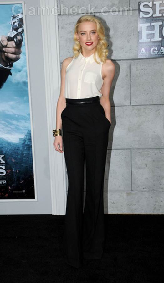 Amber Heard Classes Up Sherlock Holmes Premiere