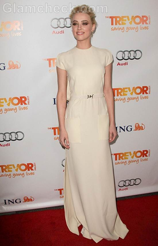 Amber Heard elegant in Ivory Gown The Trevor Projects 2011 Trevor Live