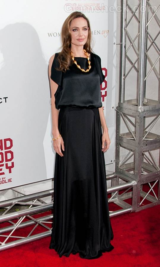 Angelina Jolie Black gown at In the Land of Blood and Honey Premiere