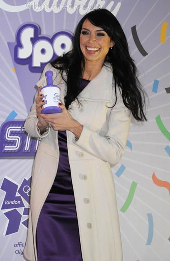 Christine Bleakly Dons Satin Purple Dress for Cadbury Photocall