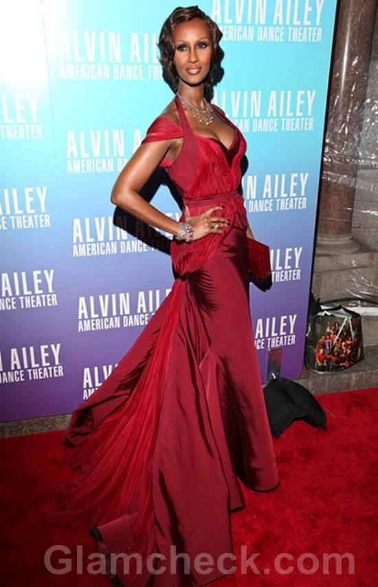 Iman in Fabulous Red Dress at Gala Benefit