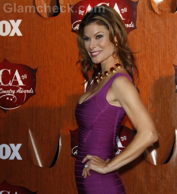 Jamie Little Rocks Tight Pink Dress at American Country Awards 2011