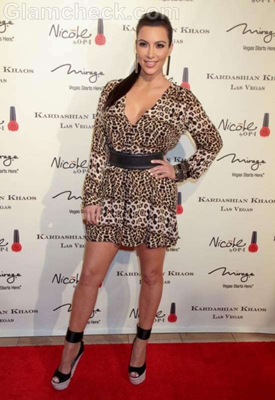 Kim Kardashian Wears Wild Mini Dress for Kardashian Khaos Opening
