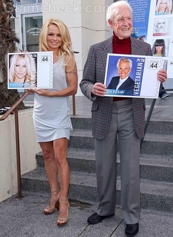 Pamela Anderson Unveils Veg Icon Stamps PETA
