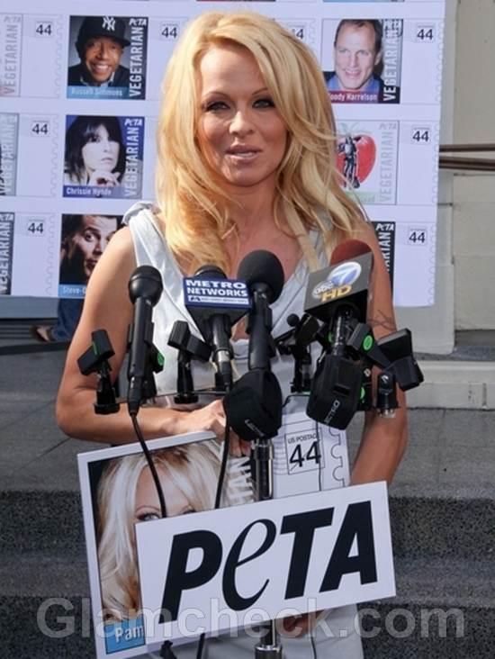 Pamela Anderson Unveils Veg Icon Stamps for PETA