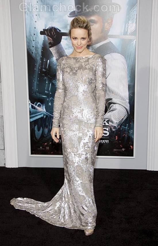 Rachel McAdams  in Silver Gown Sherlock Holmes Premiere