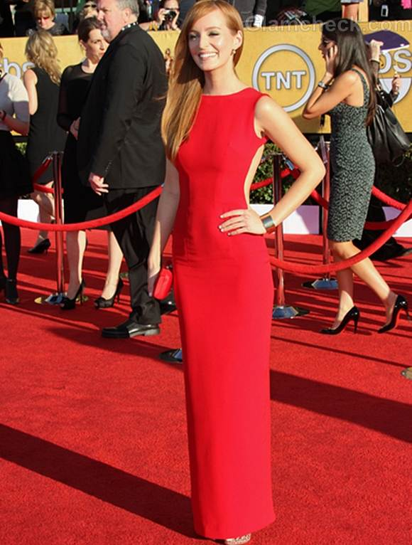 Ahna OReilly Backless Red Dress at SAGs 2012