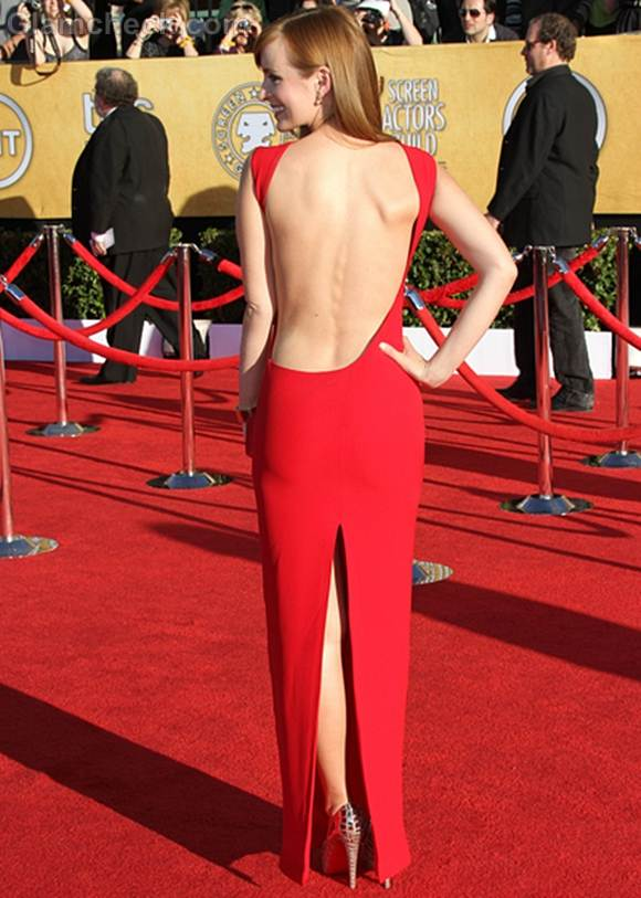 Ahna OReilly in Smashing Backless Red Dress at SAGs 2012