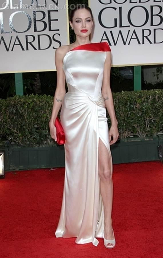 Angelina Jolie Regal in Ivory at 2012 Golden Globe Awards