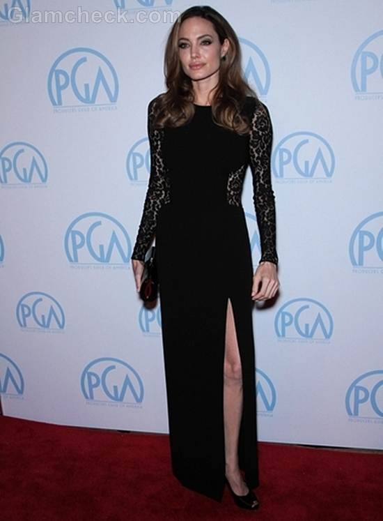 Angelina Jolie Wows in Lacy Gown at 23rd Annual PGAs