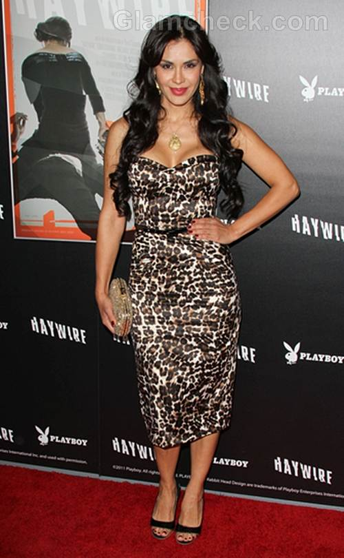 Carla Ortiz Dons Animal Print Dress Haywire L A Premiere