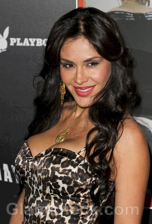 Carla Ortiz Dons Animal Print Dress for Haywire L A Premiere