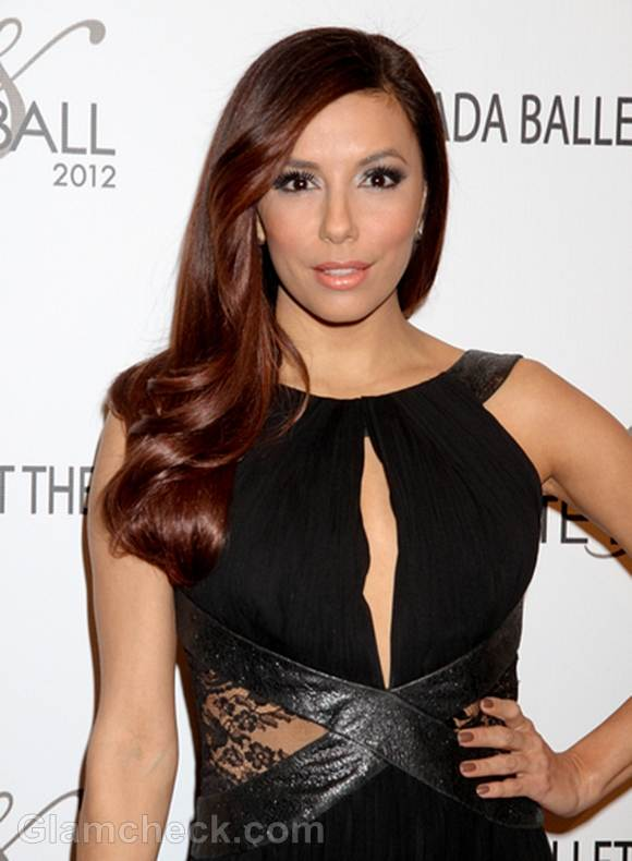 Eva Longoria Sexy in Lace Cutout Dress at Black and White Ball 2012