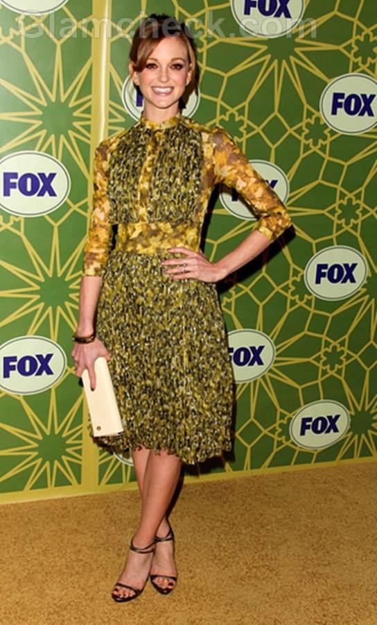 Jayma Mays Dons Feminine Silk Dress for All-Star Party