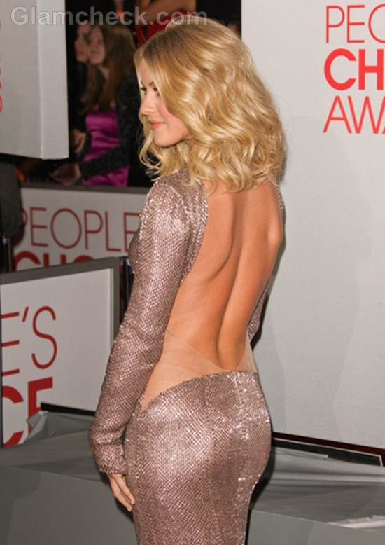 Julianne Hough in Racy Backless Dress at Peoples Choice Awards