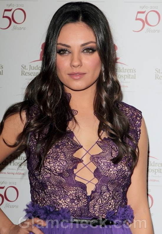 Mila Kunis Wows in Racy Purple Dress at Charity Do