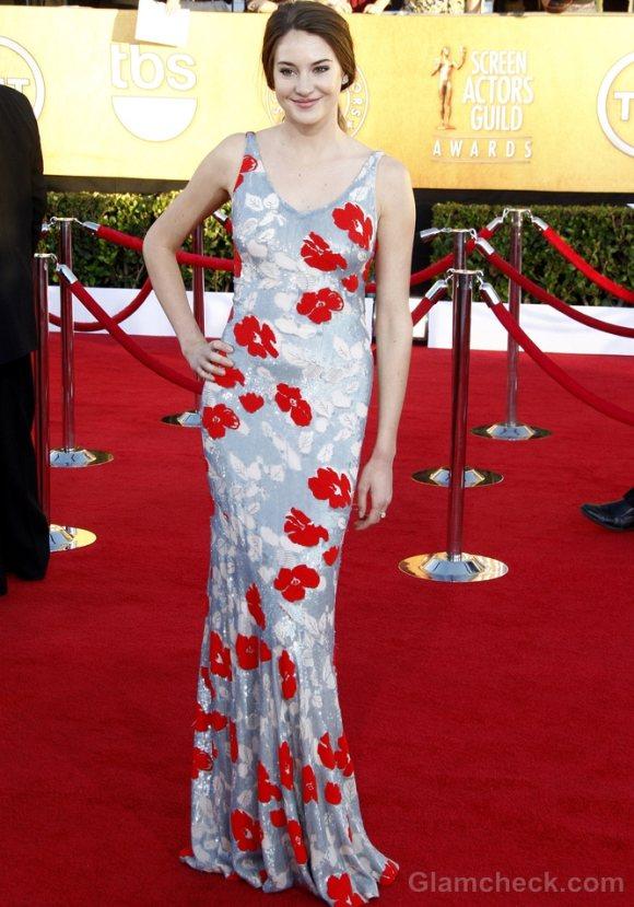 Shailene Woodley Floral Print gown Screen Actors Guild Awards  2012