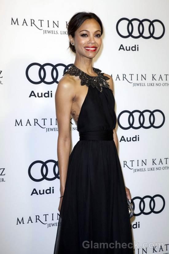 Zoe Saldana 2012 golden globe awards after party