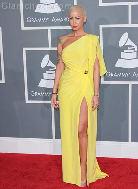Amber Rose Luscious in Yellow at 2012 Grammys
