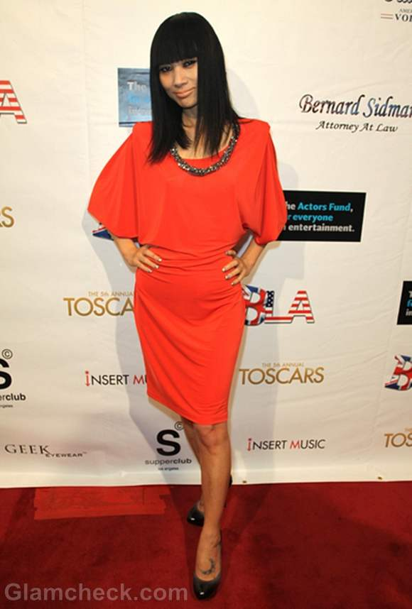Bai Ling Tomato Red Dress at TOSCARS Awards