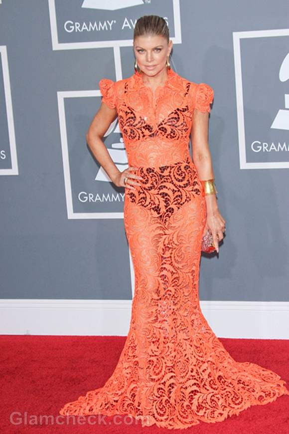 Fergie see-through lace gown 2012 Grammy Awards