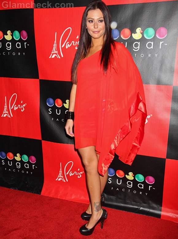 Jenni JWoww Farley Rocks Red Chiffon Dress on BDay