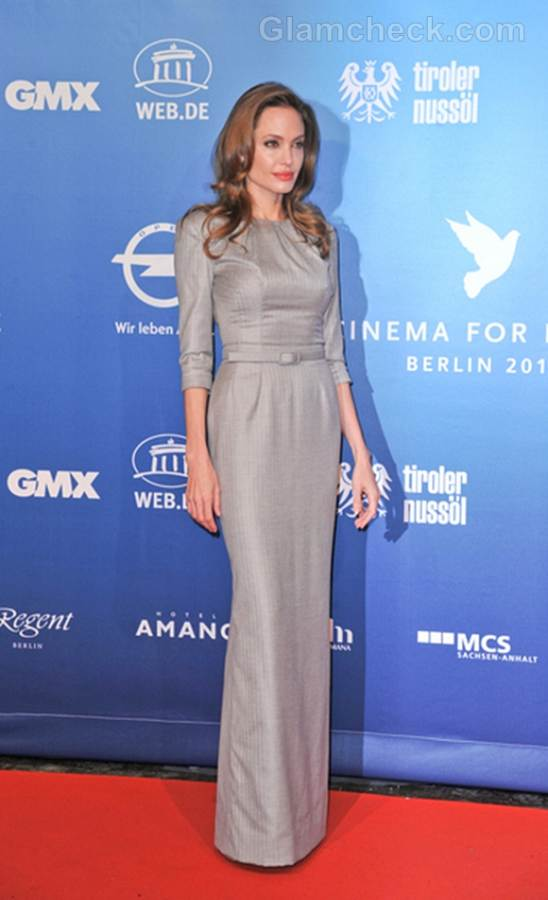 Jolie Accepts Honor at Berlin Peace Gala In Elegant Grey Gown