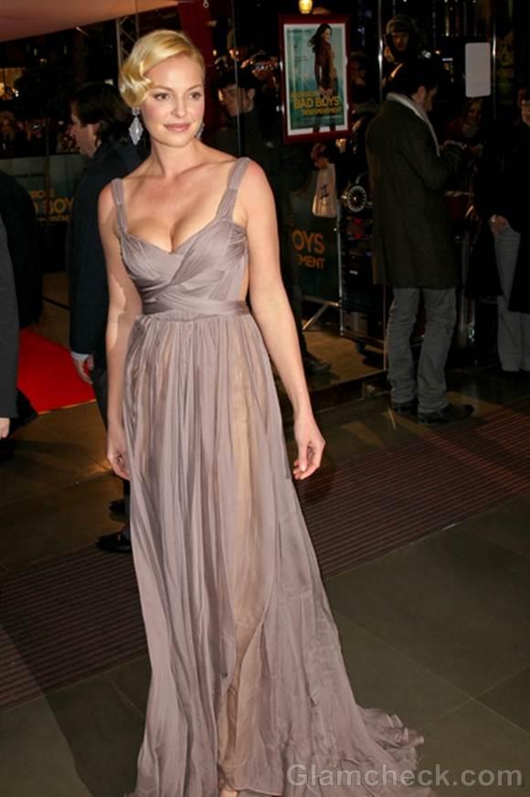 Katherine Heigl Low-Cut Couture for the Money Paris Premiere