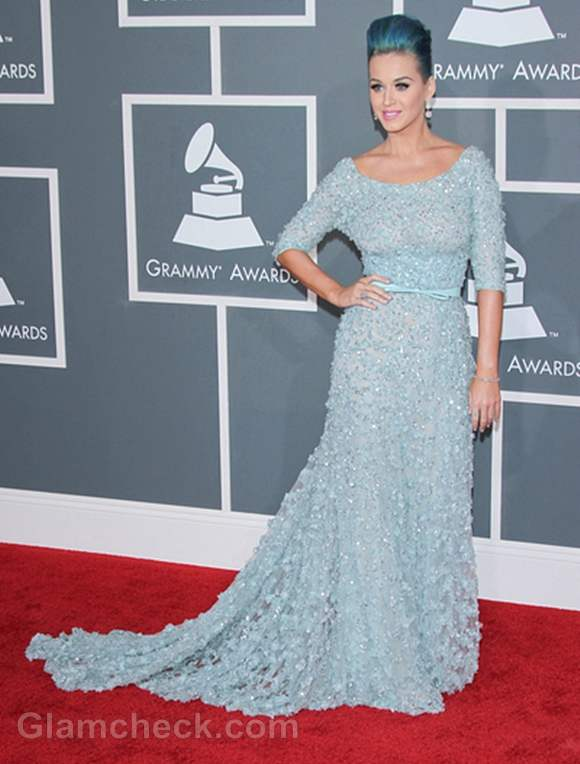 Katy Perry  Ice-Blue Princess Gown 2012 Grammy Awards