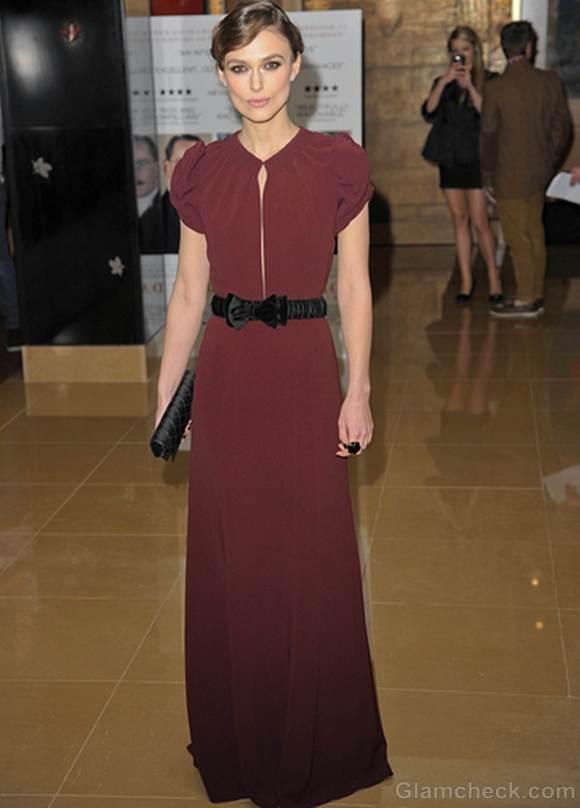 Keira Knightley burgundy gown a dangerous method Premiere