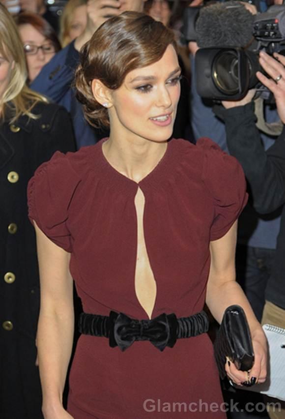Keira Knightley burgundy gown a dangerous method UK Premiere