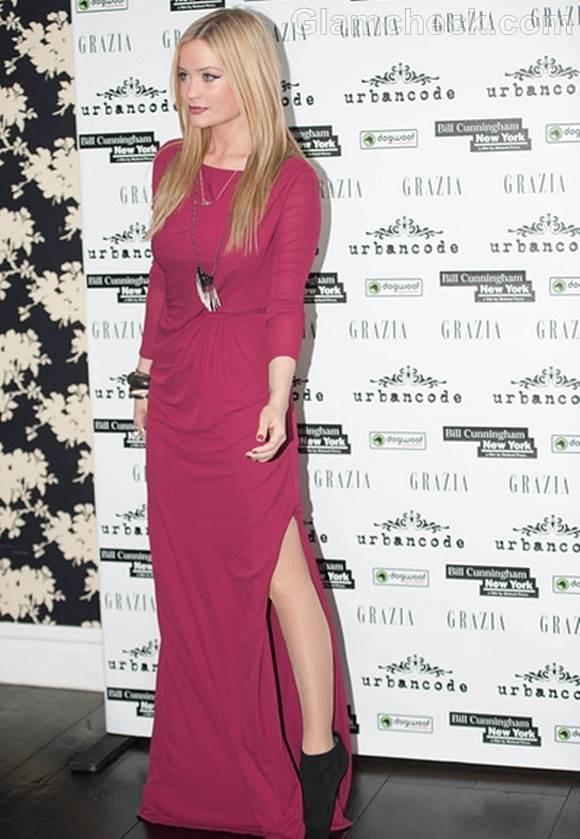 Laura Whitmore pink dress Bill Cunningham New York UK Premiere