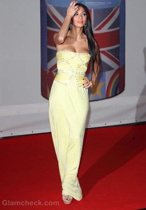 Nicole Scherzinger Dons Lemon Dress at BRIT Awards 2012