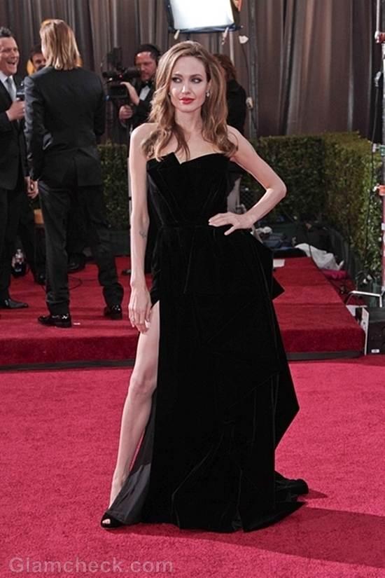 Oscars 2012 celebrities black gray gowns Angelina Jolie